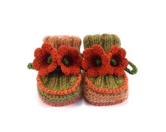 Baby Booties Hand Knitted with Crochet Bell Flowers - Brown, 0 - 6 months