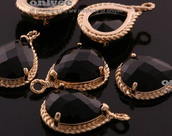 2pcs-19mmX12mmGold Faceted tear drop glass with rope rim pendants-Black(M316G-A)