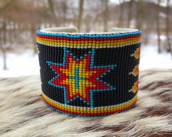 Men's Beaded Cuff Bracelet - Native American - Handmade - Glass Beads - Buckskin Suede - Adjustable Cuff - Wide Width - Beadwork