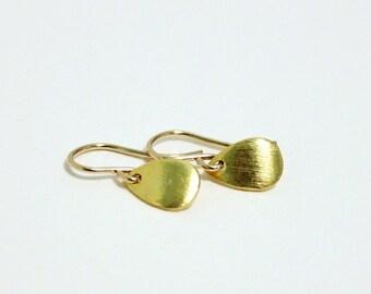 Tiny Gold Earrings, Dainty Earrings, Small Teardrop Dangle Earrings, Petal, Minimalist Jewelry, Oval Drops, Gift for Women, Goldfilled