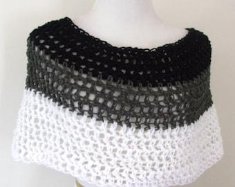 Hand Crochet Shoulder Wrap, Neckwarmer, crochet shawl, Poncho, in Black, Grey and White