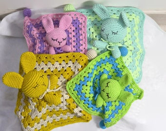 Cuddly plush Noupy Bunny crocheted entirely of cotton and bamboo