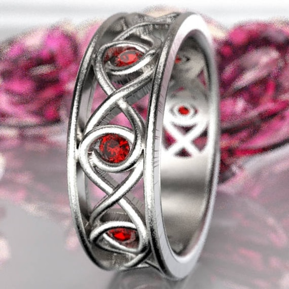 Celtic Ruby Wedding Ring With Infinity Knot Design in Sterling Silver, Made in Your Size CR-511