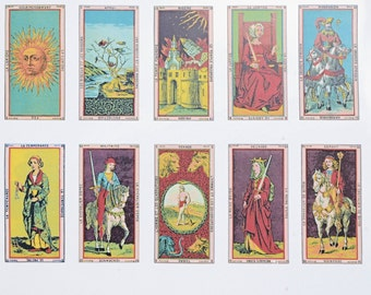 SALE- Antique French Tarot Cards #1 & #2 - Ceramic Overglaze Decals, Glass Fusing Decals, Enamel Decals