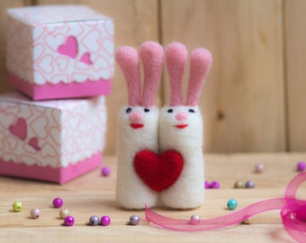 SALE Rabbits  family Needle Felted Animal,toy rabbits ,stuffed animal. rabbits wool rabbits, Valentine's Day, wedding gifts, wedding,lovers