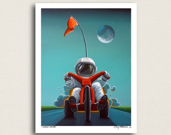 Space Racer - little astronaut tearing up the road - Limited Edition Signed 8x10 Semi Gloss Print (5/10)