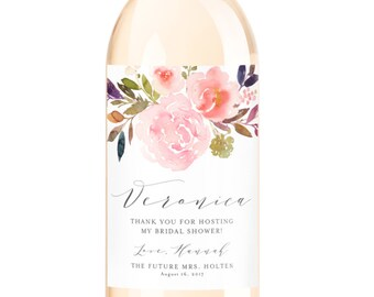 Hostess Gift Wine Labels Labels - Bridal Shower Hostess Gift - Baby Shower Thank You Gift - Host Gift - Custom Thank You Gift