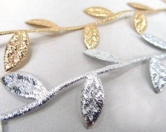 Metallic Gold or Silver Leaf Vine Trim by the yard