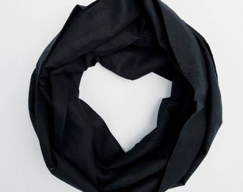 Black Linen Scarf -  Black Linen - Linen Scarves - Infinity Scarf - Circle Scarf  - Linen - Gift