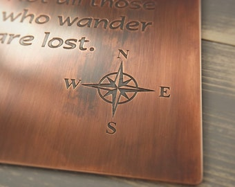 Wanderlust Coaster, Travel Coaster, Compass Coaster, JRR Tolkien Coaster, Not all those who wander, Copper coaster, Gift idea, Personalised