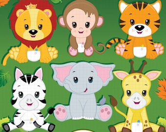 Jungle animal clipart, Baby animals, Safari clipart