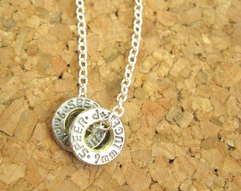 Ammo Bullet Charm Necklace - Rim of  Ammunition Casing on Sterling Chain - 9mm, 45 caliber, 40 caliber, 30-30, 38, or any other caliber