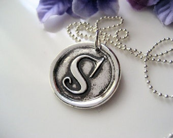 Initial Wax Seal Pendant - Sterling Silver
