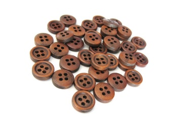 Mini Wood button - Brown 4 Holes Wooden Sewing Buttons 11mm - set of 36 (BB103A)