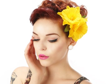 Pin Up Double Daffodil Spring summer hair Flower clip