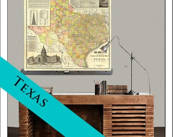 "TEXAS Map. Pull Down Map. Vintage Map 1928, 48""w x 44""h,  , School Map, Wall Chart, Hanging Map, Antique wall map,  The Texas 1891"