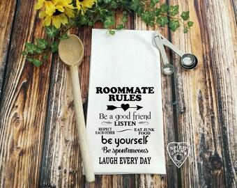 Roommate Rules Flour Sack Towel  | Kitchen Towel | Bar Towel | Tea Towel | Housewarming Gift | Dorm Gift | College Gift | Roommate Gift