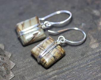 Picasso Jasper Earrings Silver Wire Wrapped Brown Green Gemstone Earrings Rustic Jewelry