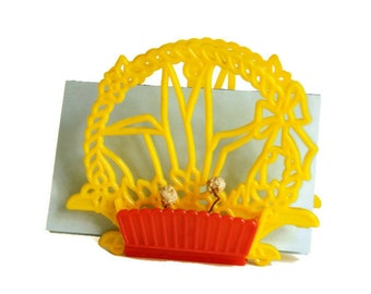Vintage Napkin Holder, 1950s Kitchen, Flower Box Caddy, Red Yellow Plastic, RV Decor