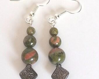Natural Unakite Jasper and Antiqued Silver Dangle Earrings