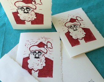 Santa nose and glasses Xmas card