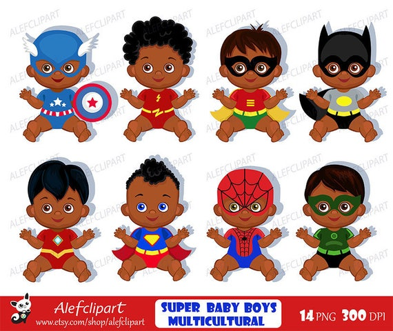 Superhero Art For Little Boys: African American Superhero Baby Clipart Superhero
