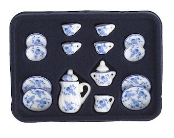 Timeless Minis™ Tea Set - Ceramic - Blue and White - Assorted Sizes - 17 pieces