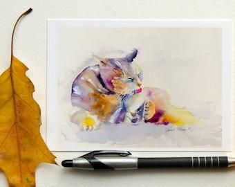 Grooming cat postcard - greeting card
