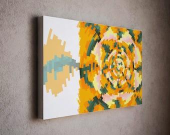 Abstract art print - mid century modern wall canvas  / pastel yellow canvas art / wall home decor