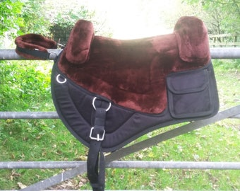 Luxury BROWN  western style treeless bareback pad vegan saddle