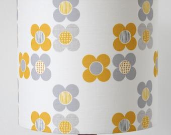 Mod Flower Mango Yellow Lampshade Scandi Fabric Drum Lamp Shade