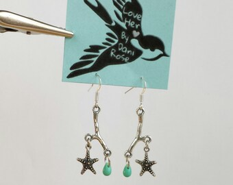 Silver twig turquoise glass drop and starfish dangle earrings