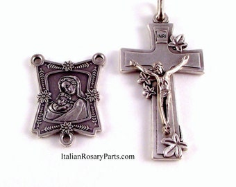 Madonna and Child Rosary Crucifix and Medal Set | Italian Rosary Parts