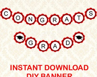 Class of 2018 Congrats Grad Printable Graduation Party Banner, Circle Banner Red and Black Decorations Scalloped,9925