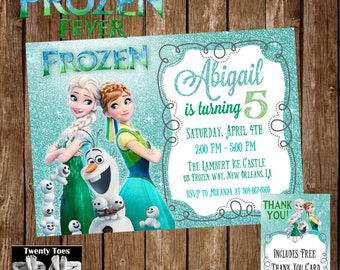 Frozen fever birthday invitation frozen fever birthday party invitation glitter printable stopboris Gallery