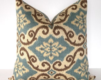 SALE - Decorative Designer Ikat Pillow Cover - 18x18 inch - Blue-Brown-Taupe - Indoor/Outdoor