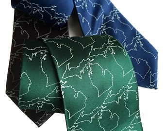 State of Michigan Necktie. Michigan Map Outline printed men's tie. Shop local, made in Michigan! Hand silkscreened print.