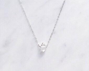 Sterling Silver Herkimer Diamond Necklace, Diamond alternative, Dainty Crystal necklace, April birthstone jewellery, Quartz necklace