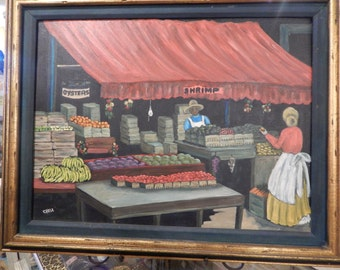 Authentic  painting  Morgan  Chela  American  plantation