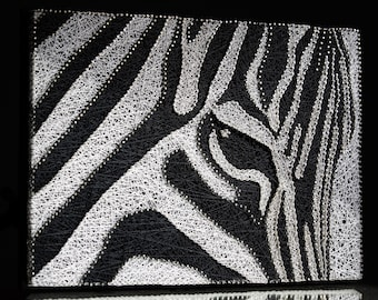 Zebra String Art,Wall Decor Black And White,Zebra Home Decor,String Art