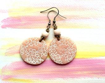 Earrings rose white flowers handmodelled, polymer clay, spring, summer, beach