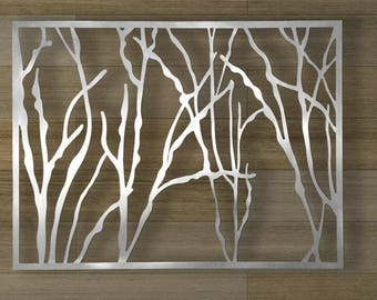Abstract Stainless Steel Wall Sculpture Art Metal Decor Laser Cut Silver Water Jets -W1