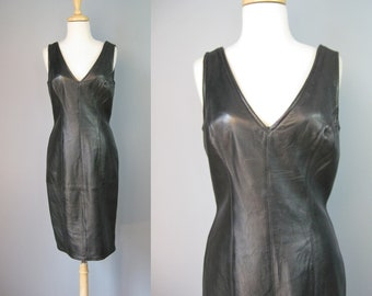Black Leather Dress / Vtg 80s / Vakko Sleeveless V Neck Black Leather dress
