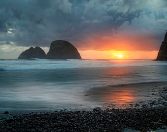 Stormy Sunset at Oceanside, Oregon |  Pacific Northwest Photography | Print | Metal, Canvas, Lustre