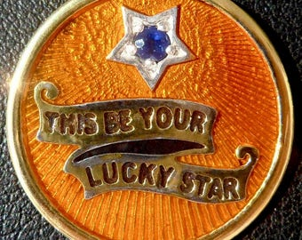 Great Turquoise  ' Lucky Star ' Charm / Love pendant, Signed RIPP, 18k Gold