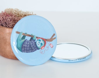 Music Loving Sloth Pocket Mirror, Hanging Blue Sloth Compact Mirror, Animal Travel Mirrors, Travel Accessories, Beauty Accessories