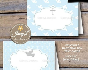 50% OFF Baptismal Boy Printable Food tent, Label, Place Cards, for Blue Baptism party, Food Labels, Buffet Cards INSTANT DOWNLOAD, personal