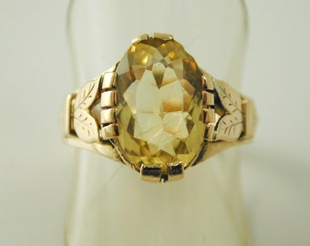 Citrine solitaire ring antique 18 carat gold 3.56 carats size T 1/2 circa 1920s