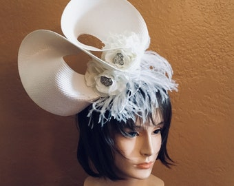 White Feather Fascinator Derby Preakness Stakes Belmont Stakes Breeders' Cup
