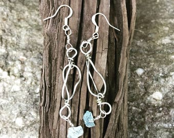 Silver wire wrapped earrings with Aquamarine chip